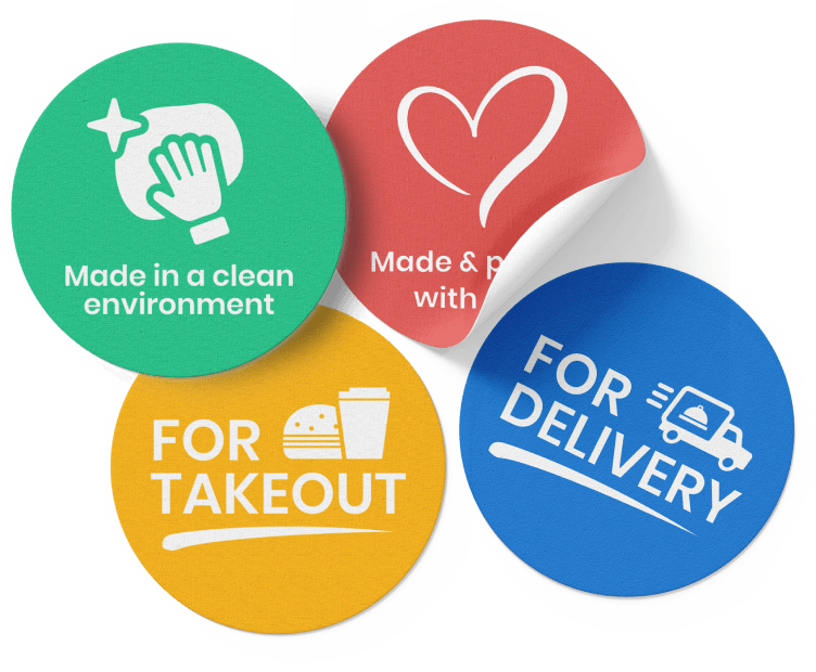 Food & Delivery Decals Removable Adhesive Vinyl (4mil)