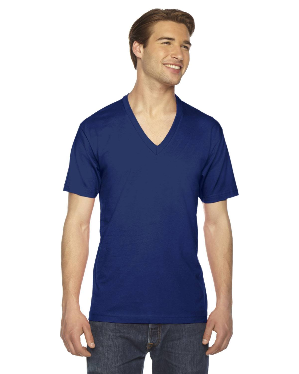 American Apparel Unisex Fine Jersey Short-Sleeve V-Neck T-Shirt | 2456W