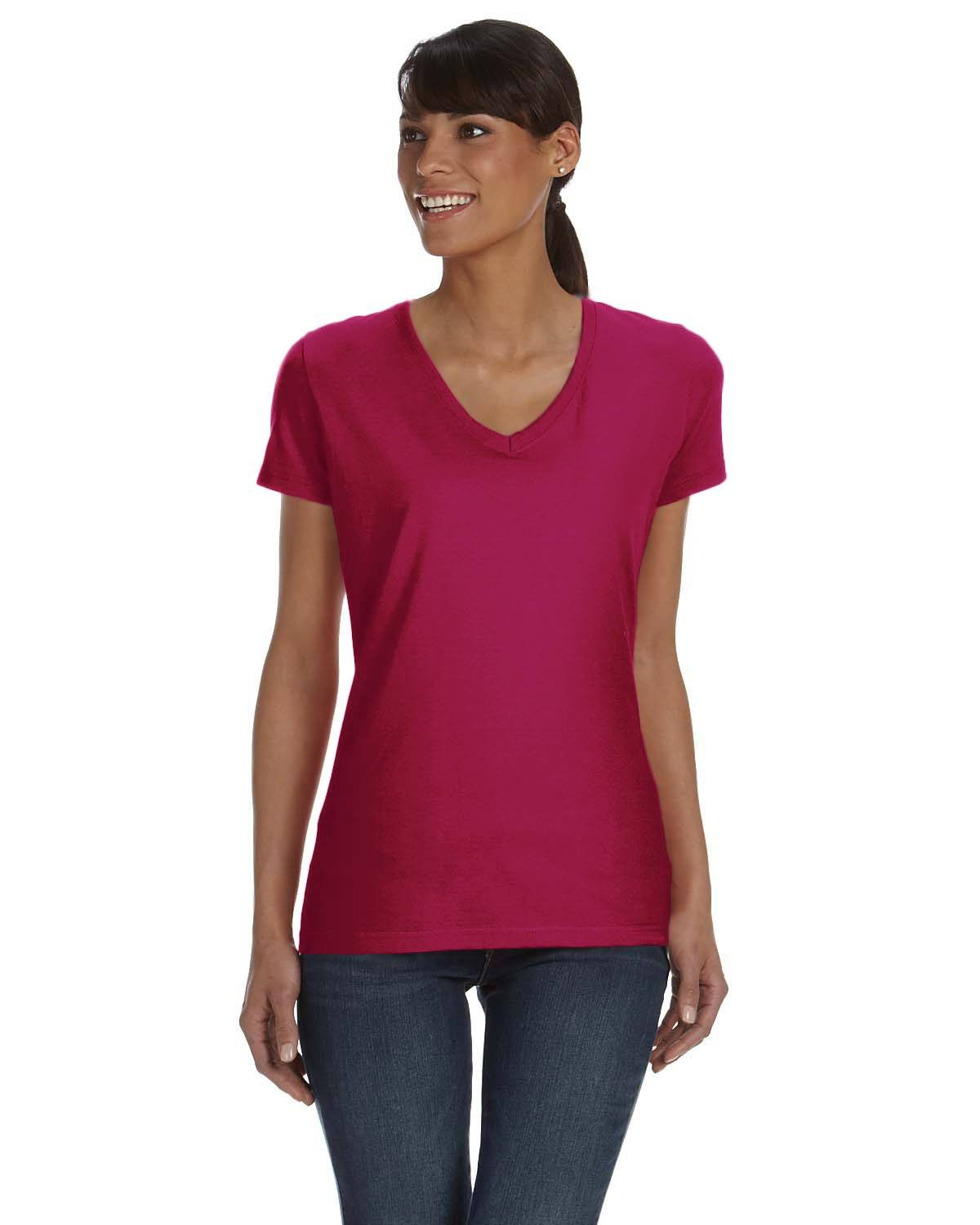 Fruit of the Loom Ladies' 8.3 oz./lin. yd. HD Cotton V-Neck T-Shirt | L39VR