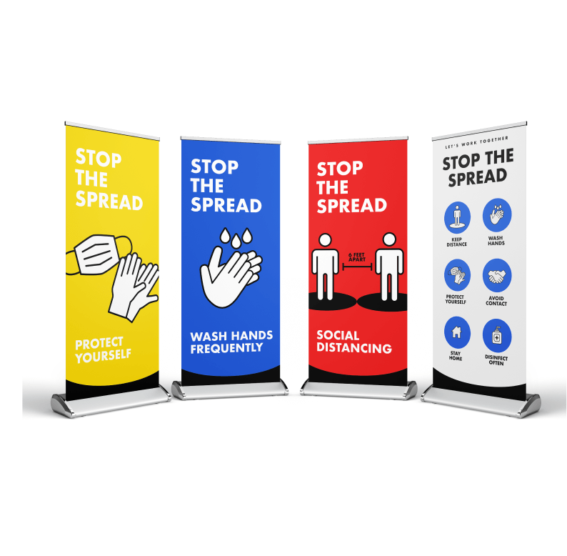 Social Distancing Pull Up Banners